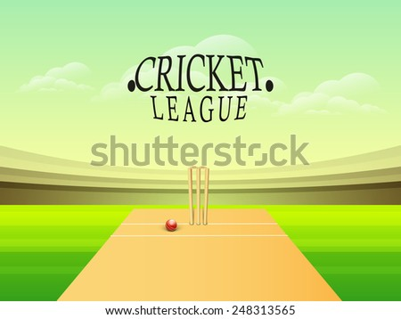 Glossy red ball with wicket stumps on stadium for Cricket League concept. - stock vector