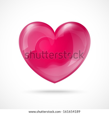 Glossy Red Heart Valentine's Day Vector Background EPS10 - stock vector