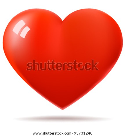 Glossy red heart vector illustration
