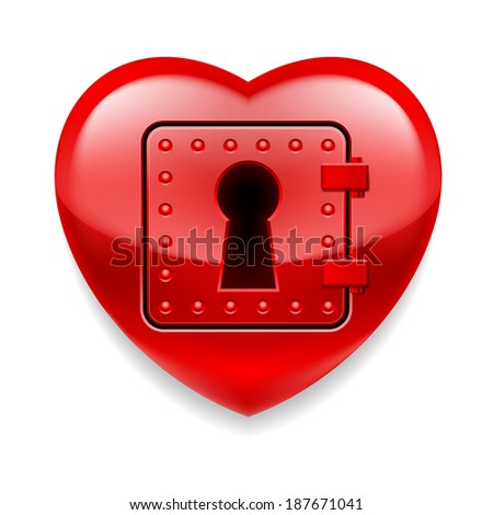 Glossy red heart with locked door. Love or life in safe  - stock vector