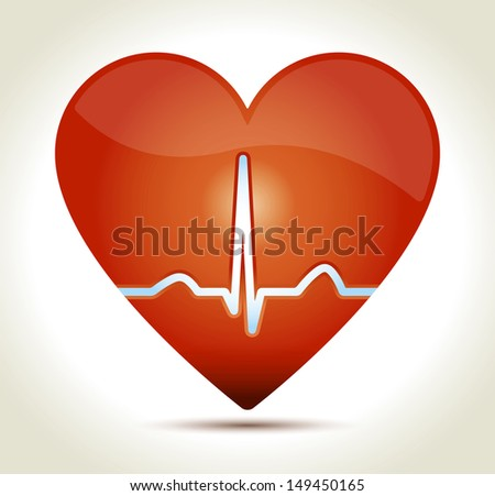 Glossy red heart with normal EKG sinus rhythm and shadow on light background. - stock vector
