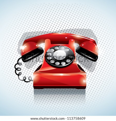Glossy red phone - stock vector