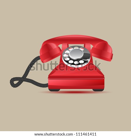 Glossy retro phone, vector illustration, eps10 - stock vector