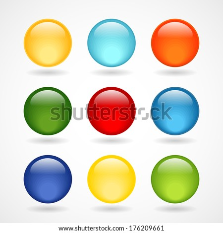 Glossy  round buttons for icons - stock vector