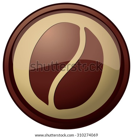 Glossy Round Coffee Sign, Vector Illustration isolated on White Background. - stock vector