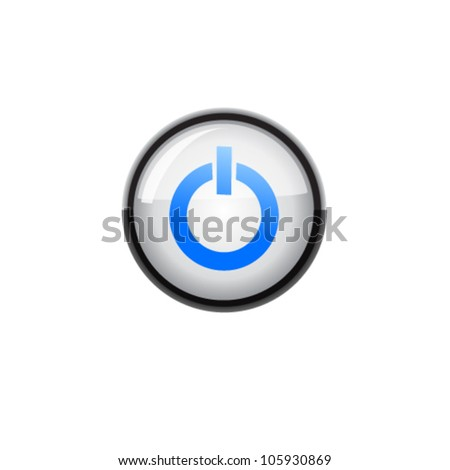 Glossy round On / Off button isolated over white background. Vector - stock vector