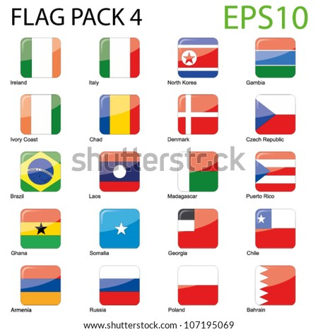 Glossy Rounded Edge Icon - Map Pack 4 - stock vector