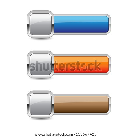 Glossy Rounded Rectangular Button - stock vector