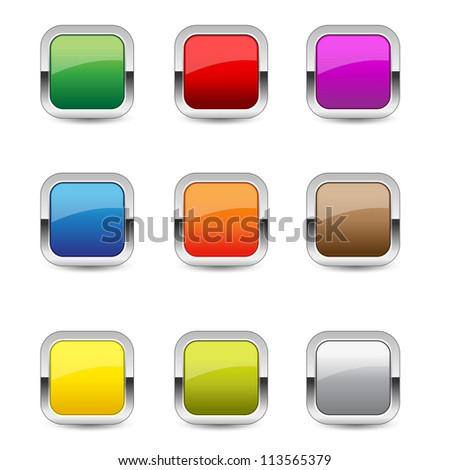 Glossy Rounded Rectangular Button Icon - stock vector