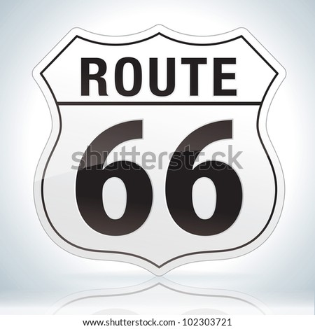 Glossy route sixty six icon on soft background - stock vector
