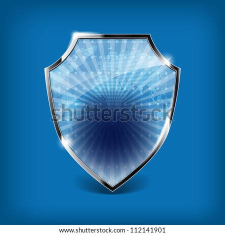 Glossy security shield on blue background - place for your text or symbol - stock vector