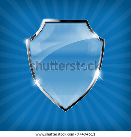Glossy security shield on blue background - vector - stock vector