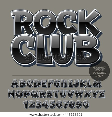 Glossy set of alphabet letters, numbers and punctuation symbols. Reflective vector logotype with text Rock Club - stock vector