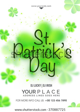 Glossy Shamrock Leaves decorated Pamphlet, Banner or Flyer design for Happy St. Patrick's Day celebration. - stock vector