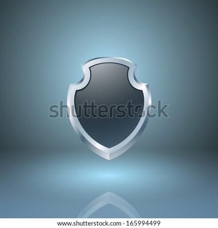 Glossy shield icon. EPS10 vector. - stock vector