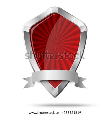 Glossy shield placed on white - stock vector
