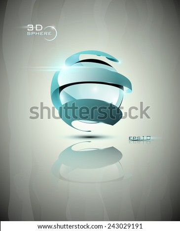 Glossy shiny, futuristic blue sphere icon EPS 10 - stock vector