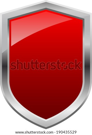 Glossy Shiny Shield Red with Silver Border Vector Drawing  - stock vector