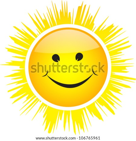 Glossy smiling sun isolated on white background. Vector illustration - stock vector
