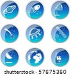Glossy space icons set. Vector illustration - stock photo