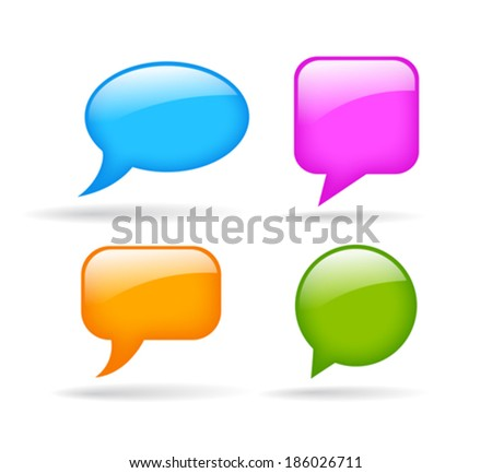 Glossy speech bubble - stock vector