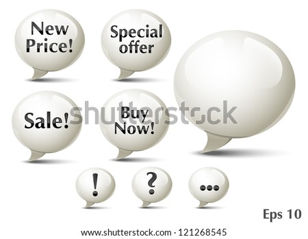 Glossy Speech Bubble Icons - stock vector