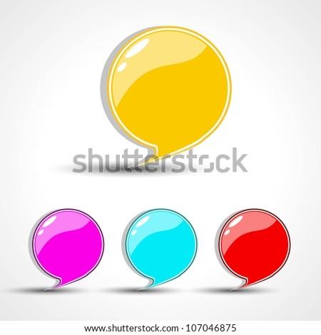 Glossy speech bubble set. EPS 10. - stock vector