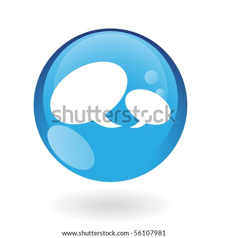 Glossy speech bubbles in blue button isolated on white - stock vector