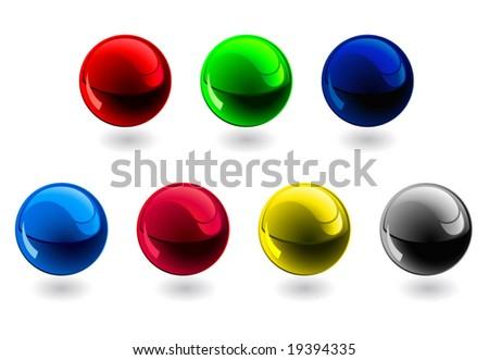 Glossy spheres. RGB, CMYK - stock vector