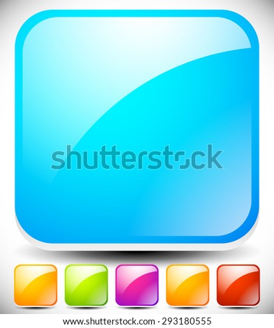 Glossy square buttons, symbol, icon backgrounds with transparent highlight, reflection. 6 colors: Blue (aqua, teal), yellow, green, purple, orange and red. - stock vector