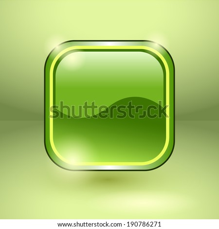 Glossy square empty button. Vector illustration - stock vector