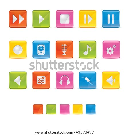 Glossy Square Icons - Audio in Adobe Illustrator EPS 8 for multiple applicatios. - stock vector