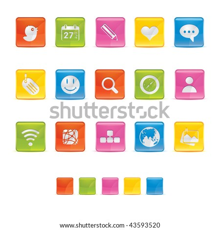 Glossy Square Icons - Media in Adobe Illustrator EPS 8 for multiple applicatios.