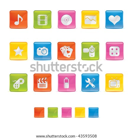 Glossy Square Icons - Multimedia in Adobe Illustrator EPS 8 for multiple applicatios.