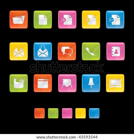 Glossy Square Icons - Office in Black in Adobe Illustrator EPS 8 for multiple applicatios. - stock vector