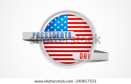 Glossy sticker or label in United State American flag color covered by silver ribbon for Presidents Day celebration on white background. - stock vector