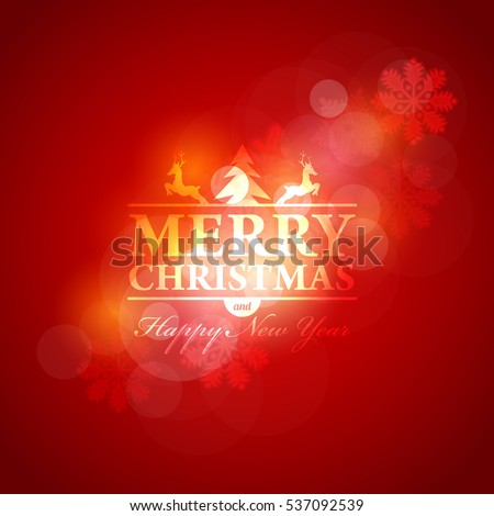 Glossy Style Postcard with Happy New Year and Merry Christmas Celebration. Greeting Card Design, Vector Winter Snowflakes Elements in Red Colors Background. Flyer, Poster, Web Banner Template