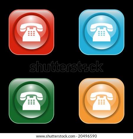 Glossy Telephone Icons - stock vector