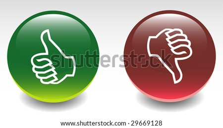 Glossy Thumbs Up & Down Icons - stock vector