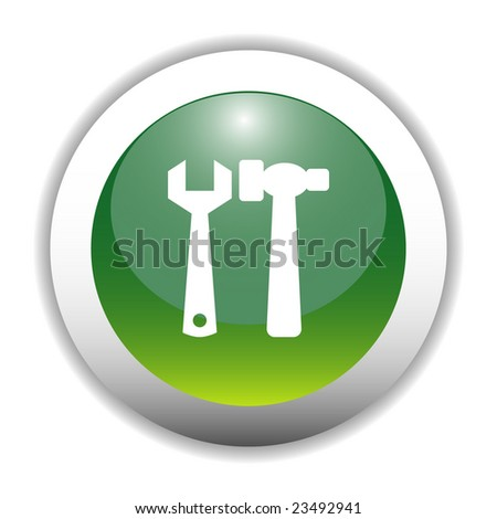 Glossy Tools Sign Icon Button - stock vector