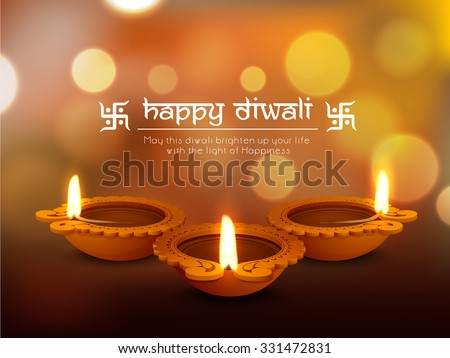 Glossy traditional illuminated oil lit lamps on shiny background for Indian Festival of Lights, Happy Diwali celebration. - stock vector