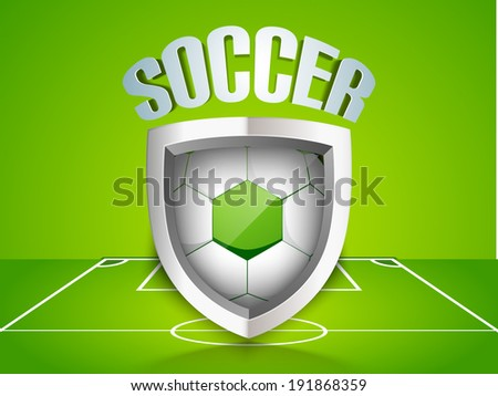 Glossy trophy for soccer ball winner with soccer ball inside and stylish text on stadium background.  - stock vector