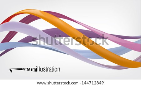 glossy twisted wavy lines or graphic design - stock vector