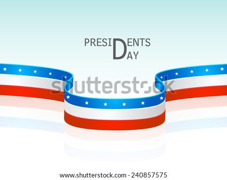 Glossy United State American flag color stripes for Presidents Day celebration on shiny sky blue background. - stock vector