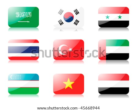 Glossy vector flags. Set five of flags from Asia (Saudi Arabia, South Korea, Syria, Thailand, Turkey, United Arab Emirates, Uzbekistan, Vietnam, Yemen) - stock vector