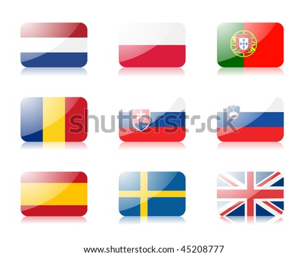 Glossy vector flags. Set three of flags from European union (Netherlands, Poland, Portugal, Romania, Slovakia, Slovenia, Spain, Sweden, United Kingdom) - stock vector