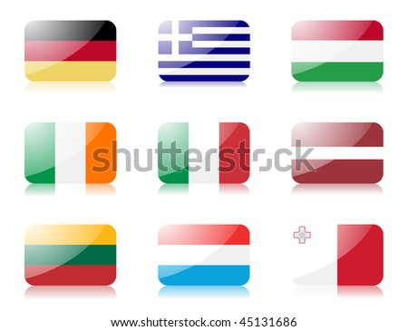 Glossy vector flags. Set two of flags from European union (Germany, Greece, Hungary, Ireland, Italy, Latvia, Lithuania, Luxembourg and Malta) - stock vector