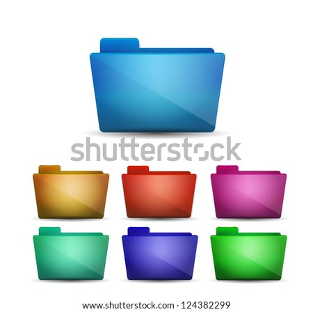Glossy vector folder icons in different colors - stock vector