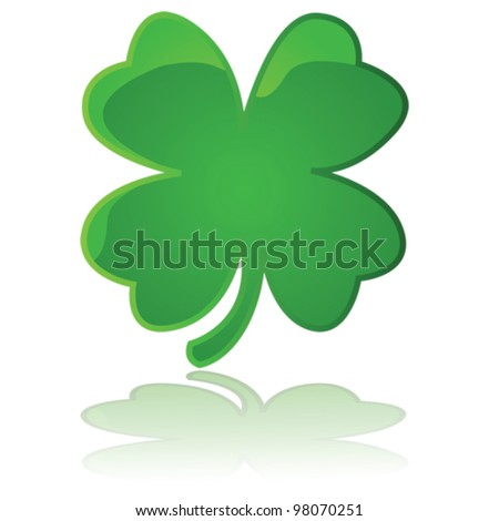 Glossy vector illustration showing a four leaf clover reflected on a white surface - stock vector