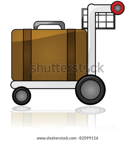 Glossy vector illustration showing an airport cart carrying a piece of luggage